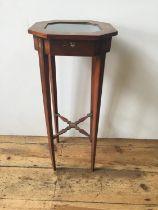 EDWARDIAN PAINTED SATINWOOD BIJOUTERIE TABLE CIRCA 1910 raised on slender square tapered legs 30cm