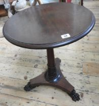 VICTORIAN ROSEWOOD CLAW FOOT TRIPOD LAMP TABLE 64cm high, 48cm dia