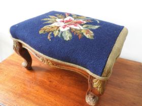 LOUIS XV STYLE STAINED BEECHWOOD AND UPHOLSTERED STOOL 20TH CENTURY enriched with parcel gilt 23cm