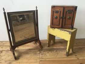 VANITY MIRROR, CANTEEN AND SMALL CABINET