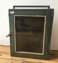 SMALL DISTRESSED PAINTED GLAZED WALL CABINET 55 x 44 x 14cms