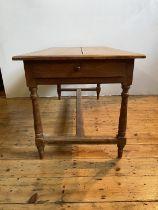 FRENCH TURNED LEG STRETCHER BAR FARMHOUSE TABLE, 147cm long, 76cm wide, 77cm high