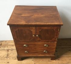 VICTORIAN MAHOGANY CROSSBANDED INLAID COMMODE CHEST 74 x 62 x 48cms