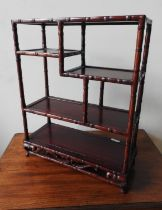 SET OF CHINESE SIMULATED BAMBOO HARDWOOD STANDING SHELVES 20TH CENTURY 58cm high, 45cm wide
