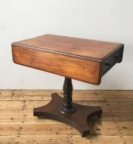 VICTORIAN MAHOGANY PEMBROKE TABLE ON TURNED CENTRAL PEDESTAL, terminating in shaped base with