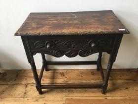 CARVED OAK STRETCHER BAR SIDE TABLE WITH DRAWER, on turned legs 78 x 69 x 41cms