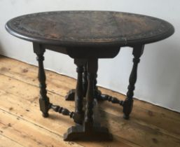 CARVED OAK OVAL DROP-LEAF SIDE TABLE, on turned wooden legs 65 x 86 x 56cms
