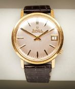 BULOVA ACCUTRON TUNING FORK GOLD PLATED MANUAL WIND DRESS WATCH, C1960s, with old leather strap.