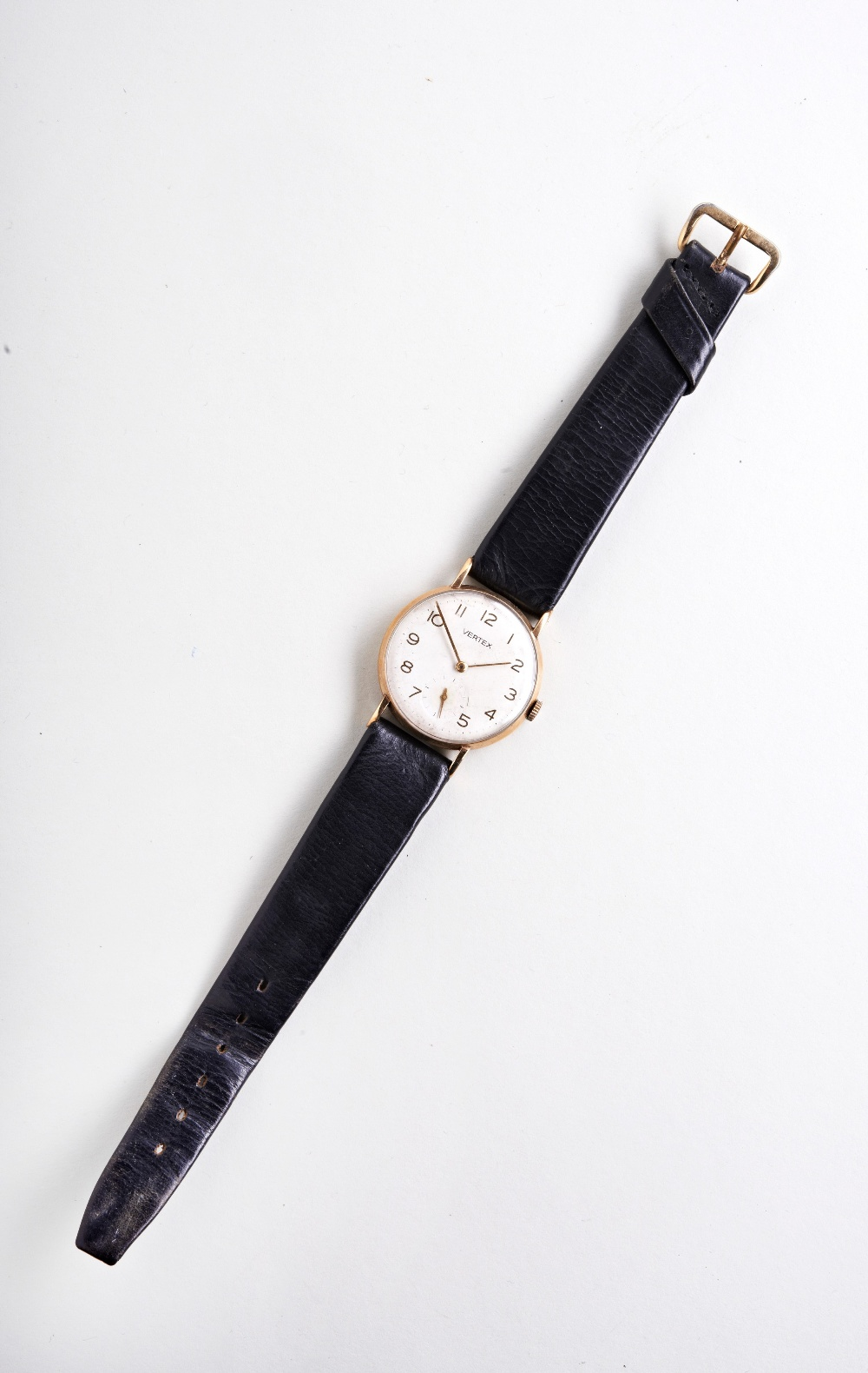 VERTEX 9CT MAN'S DRESS WATCH, c1960, with Arabic numerals and later leather strap. PROVENANCE: The - Image 2 of 3