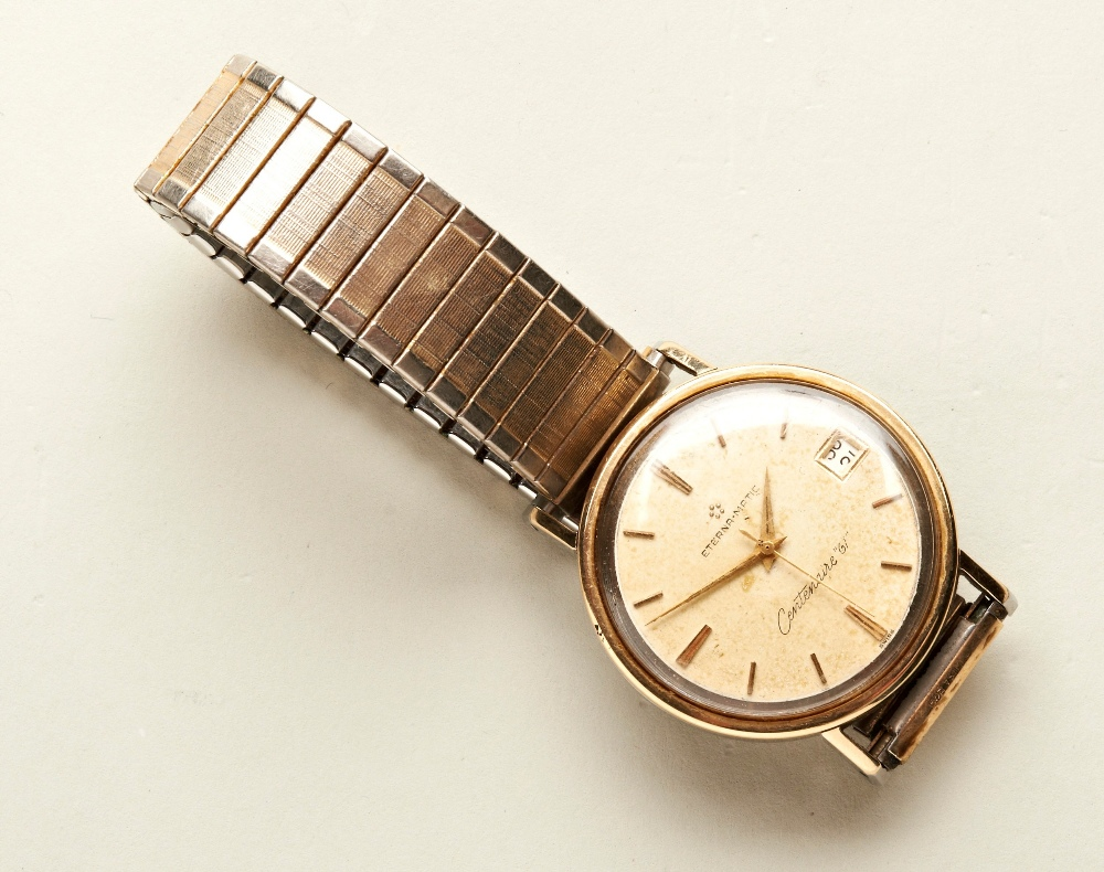 ETERNA MATIC GOLD-PLATED CENTENAIRE 61' BRACELET WRISTWATCH the champagne dial with baton numerals - Image 2 of 3