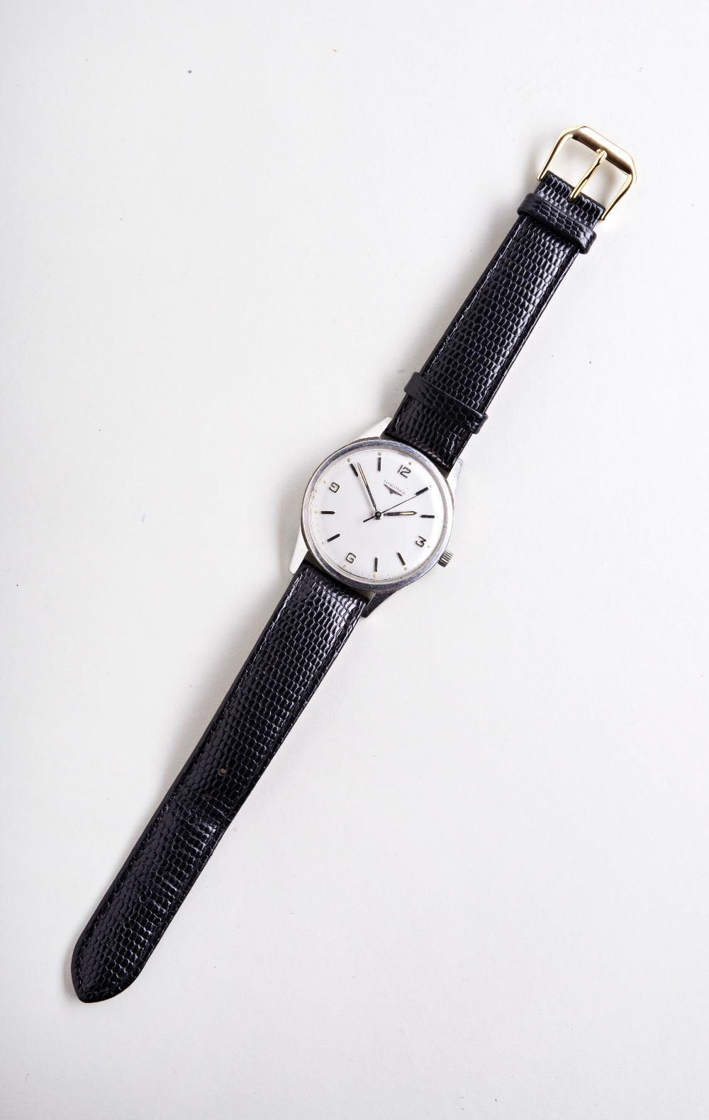LONGINES STEEL WRISTWATCH, c1960, silver dial with Arabic and baton numerals and later lizard/calf - Image 2 of 3
