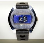 INGERSOL VINATGE DIGITAL STAINLESS STEEL WATCH with black leather sports strap, 40mm