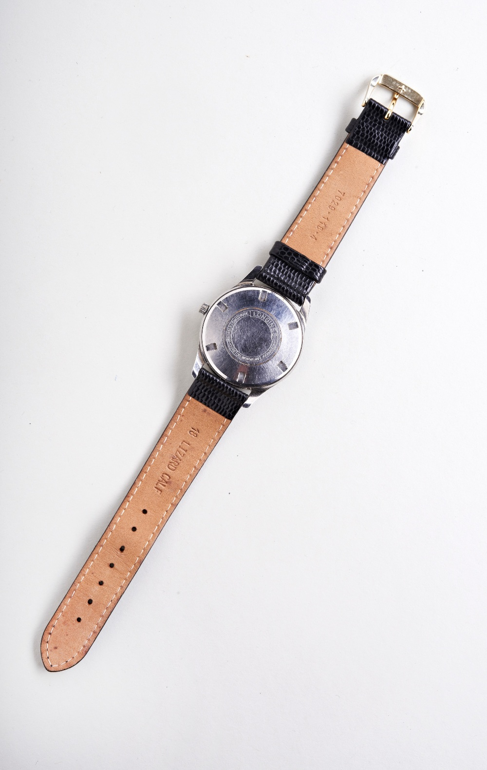 LONGINES STEEL WRISTWATCH, c1960, silver dial with Arabic and baton numerals and later lizard/calf - Image 3 of 3