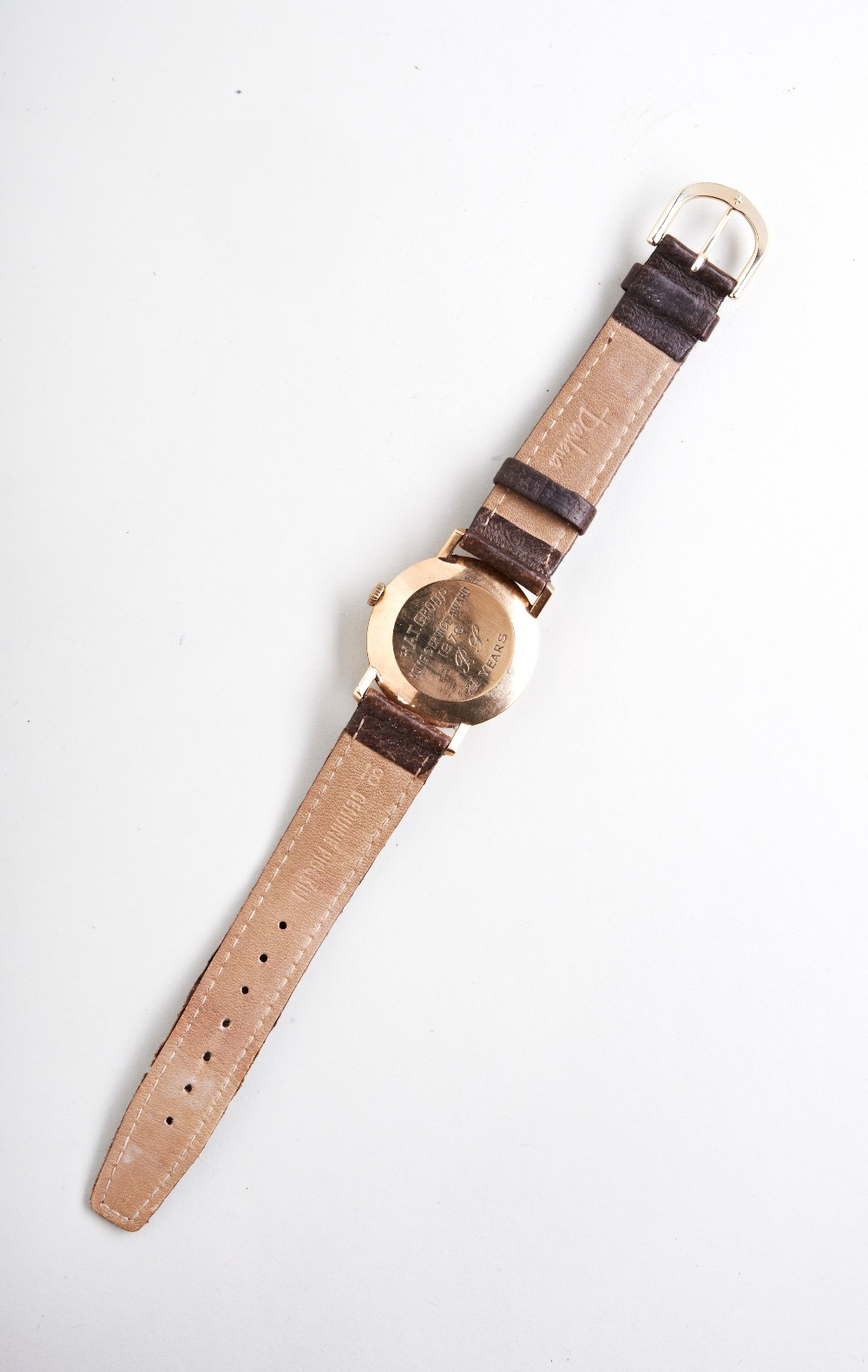 TISSOT 9CT MAN'S WRISTWATCH, 1970s, the plain slivered dial with baton numerals and later leather - Image 3 of 3