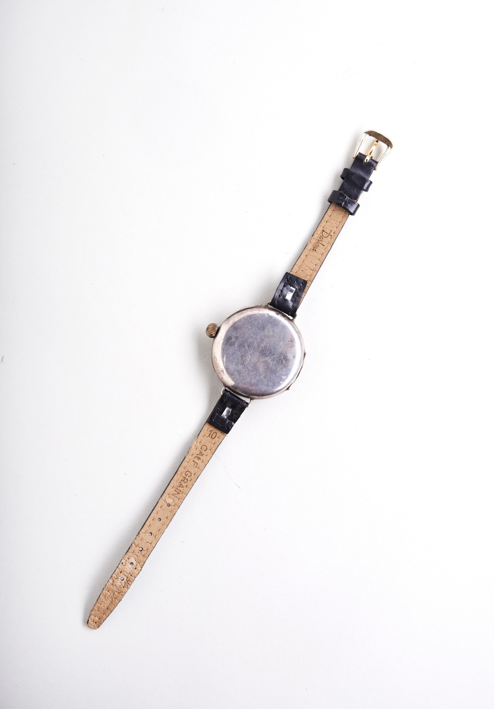 SWISS 'DOCTORS' SILVER MANUAL WRISTWATCH, early 20th century, the white enamel dial with - Image 3 of 3