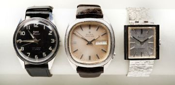 ACCURIST 21 JEWEL MANUAL WIND STEEL TANK, c1970s, the cross-hatched dial with baton numerals and