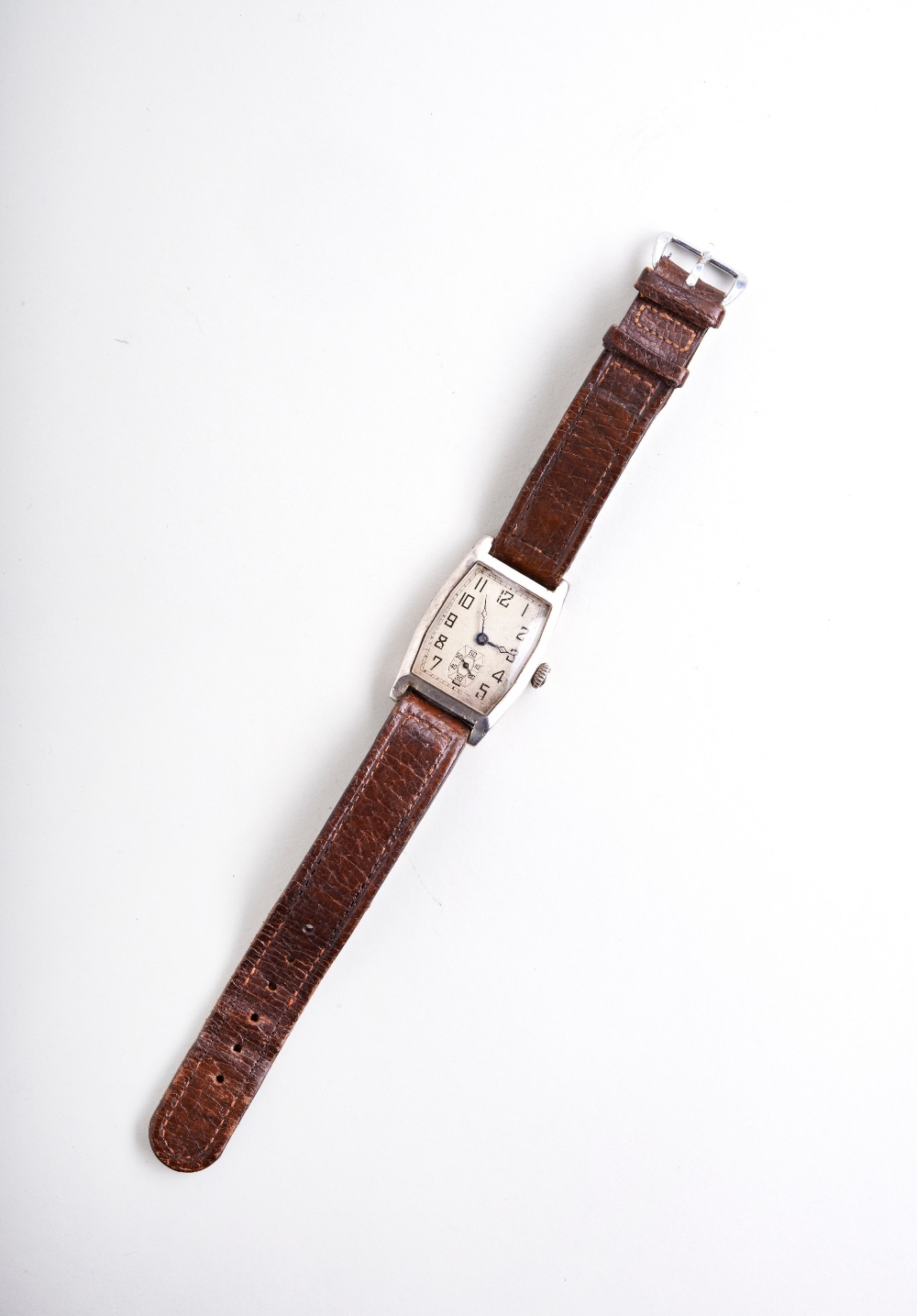 SWISS SILVER TONNEAU SHAPED MANUAL WRISTWATCH, c1915, the ?silver? dial with Arabic numerals, the - Image 2 of 3