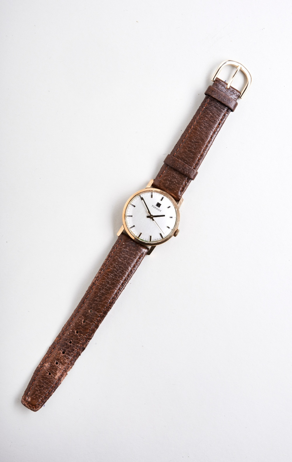 TISSOT 9CT MAN'S WRISTWATCH, 1970s, the plain slivered dial with baton numerals and later leather - Image 2 of 3