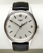 LONGINES STEEL WRISTWATCH, c1960, silver dial with Arabic and baton numerals and later lizard/calf