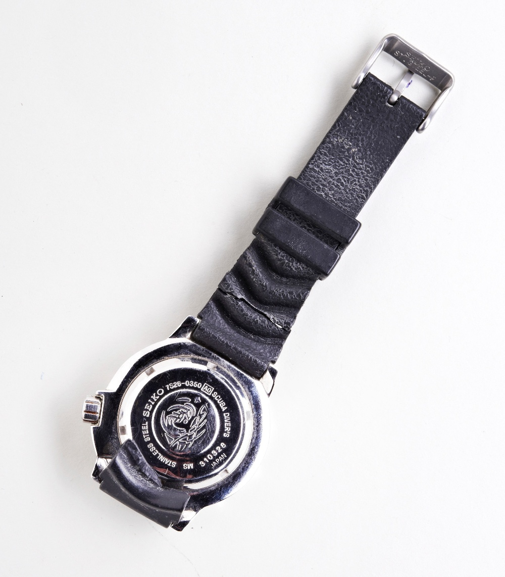 SEIKO 'BLACK MONSTER' STEEL AUTOMATIC DIVERS WATCH, with day/date and luminous dial markers, plastic - Image 3 of 3