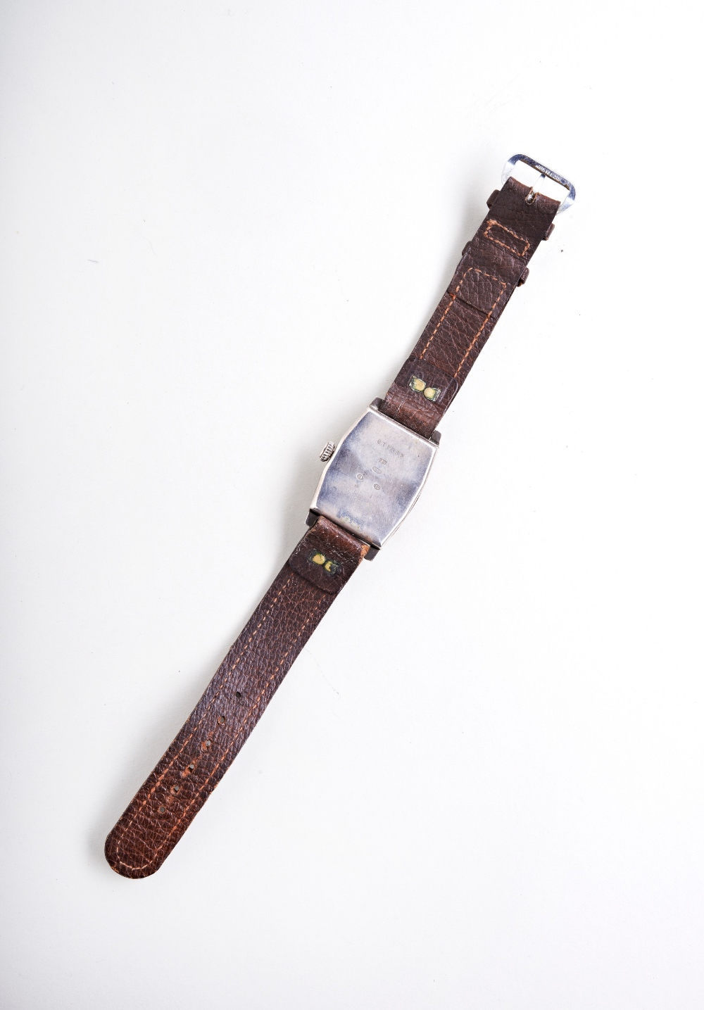SWISS SILVER TONNEAU SHAPED MANUAL WRISTWATCH, c1915, the ?silver? dial with Arabic numerals, the - Image 3 of 3
