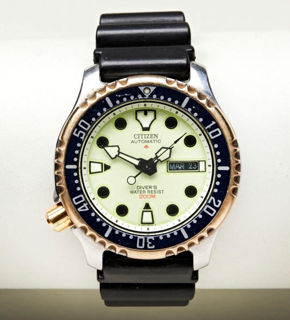 CITIZEN PROMASTER AUTOMATIC DIVERS WATCH, with bronze coloured rotating bezel and crown, day/date