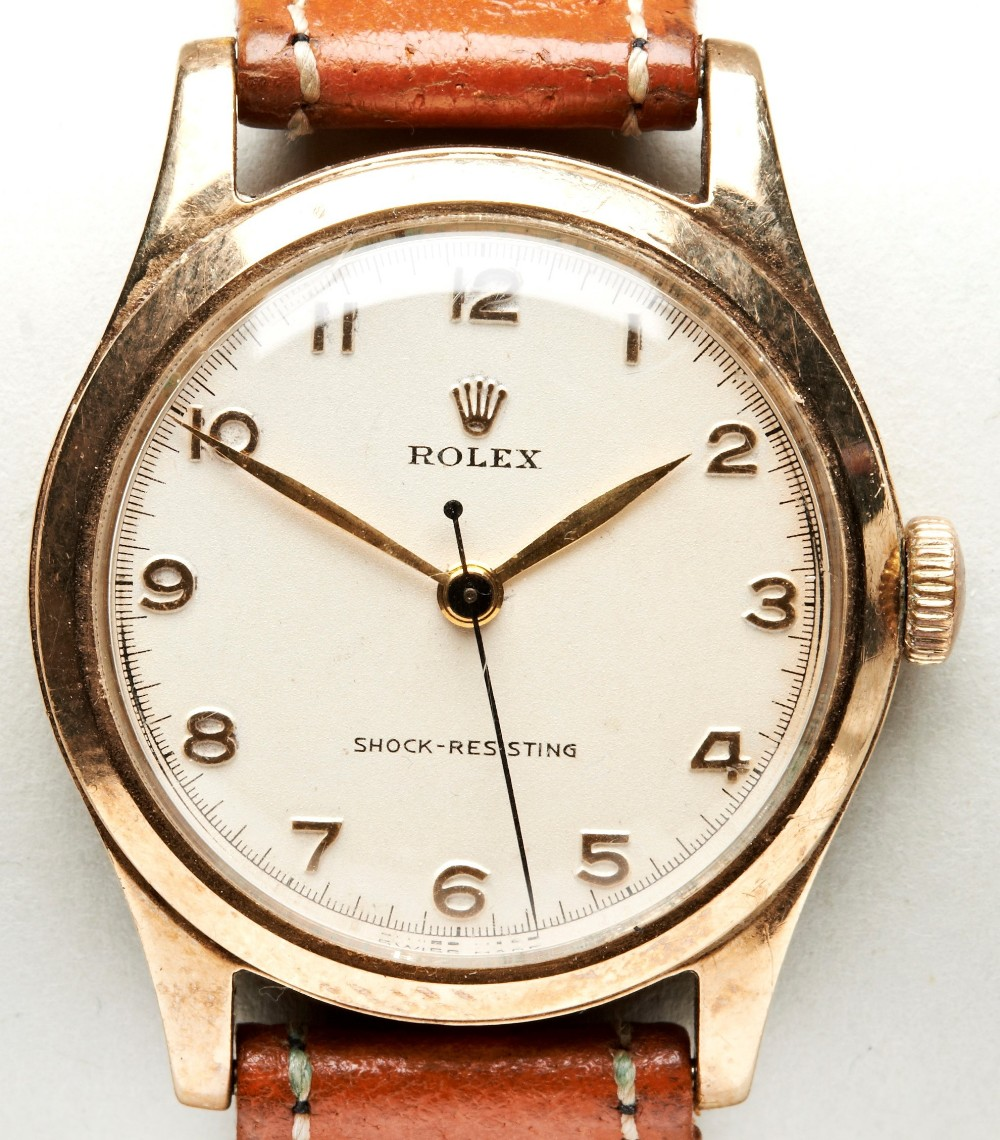 ROLEX 9CT GOLD PRECISION, manual wind with Arabic numerals and inscription verso for 1954, Sidney