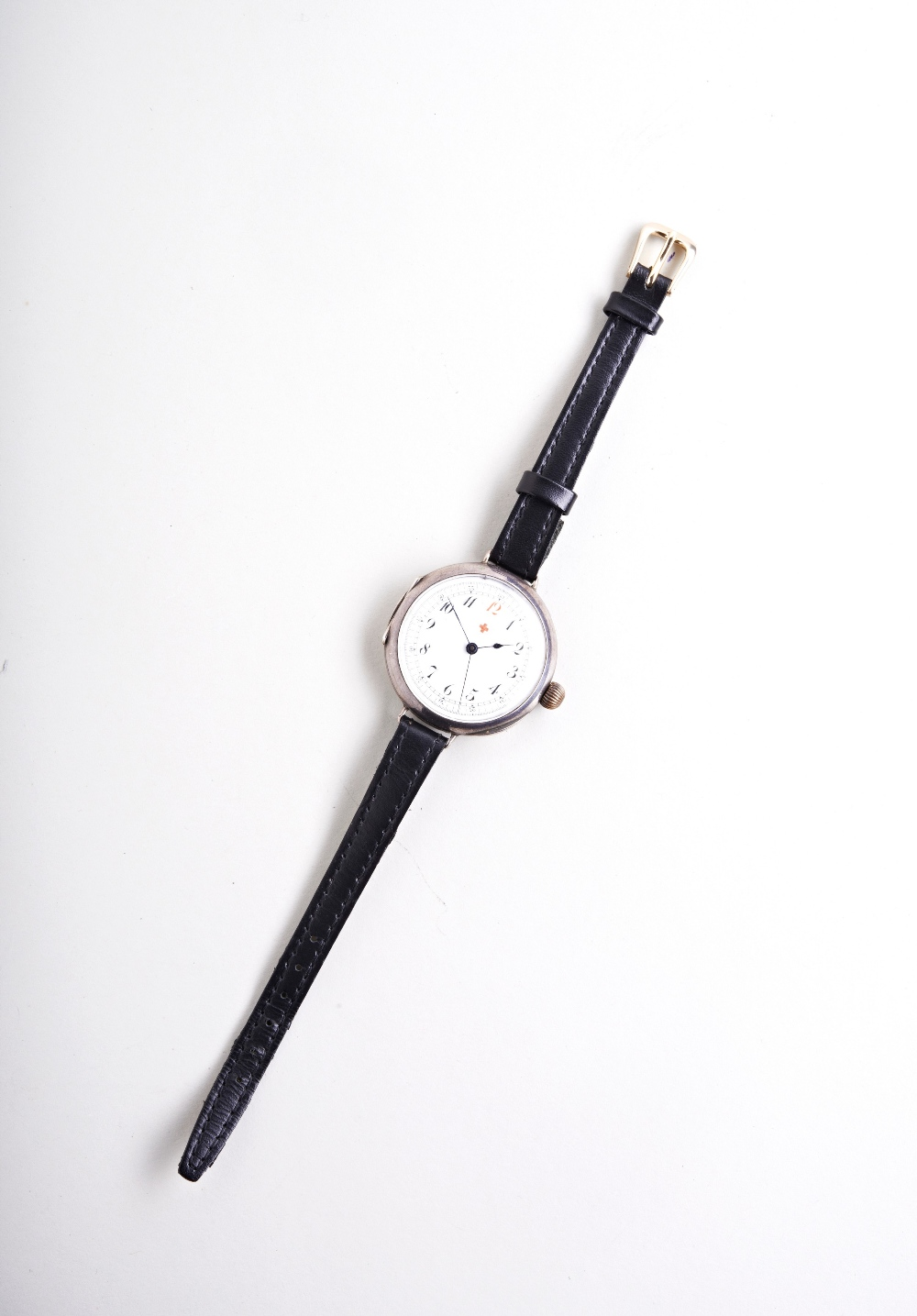 SWISS 'DOCTORS' SILVER MANUAL WRISTWATCH, early 20th century, the white enamel dial with - Image 2 of 3