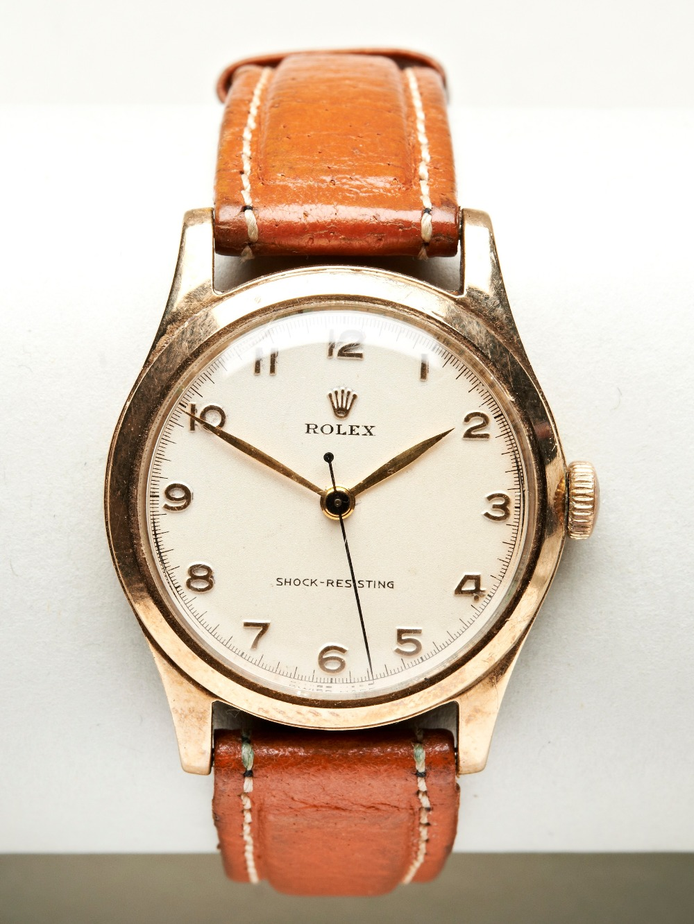 ROLEX 9CT GOLD PRECISION, manual wind with Arabic numerals and inscription verso for 1954, Sidney - Image 2 of 4