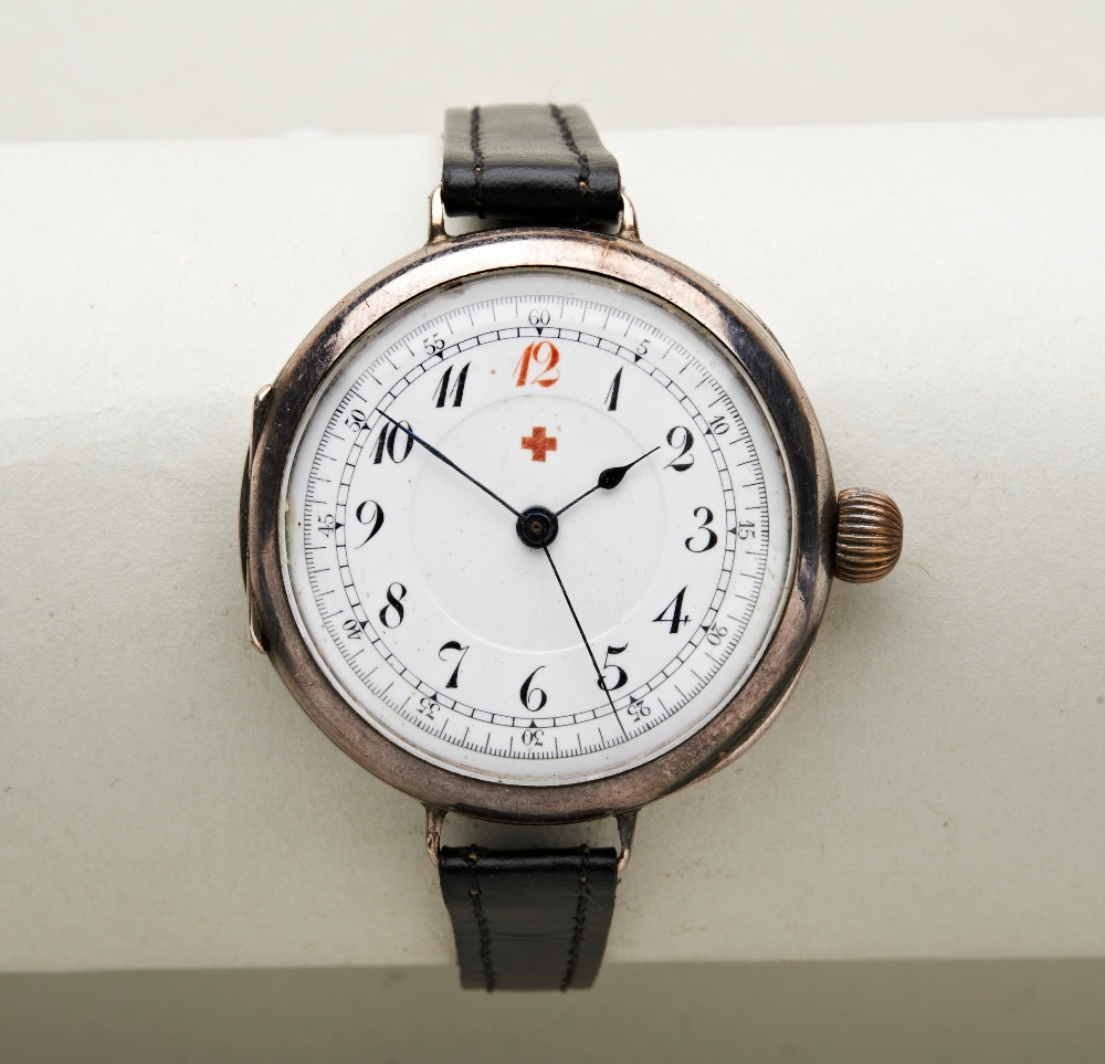 SWISS 'DOCTORS' SILVER MANUAL WRISTWATCH, early 20th century, the white enamel dial with