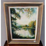 ANDRE VIGNOLES (1920 - 2017) 'L'ETANG DES VALLEES' oil on canvas, A.VIGNOLES, 1964 60cm x 45cm