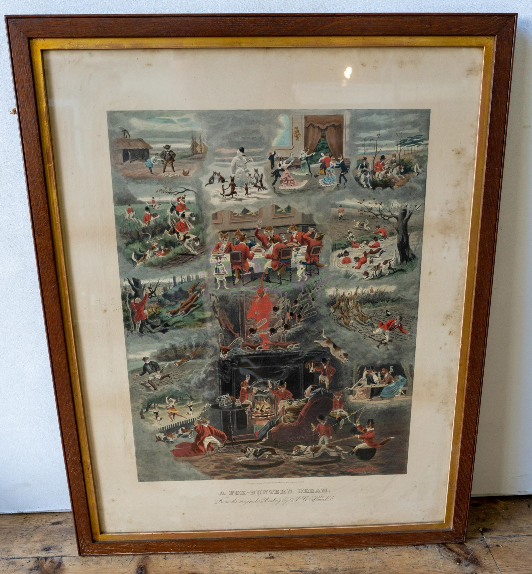 AN OAK FRAMED VICTORIAN PRINT 'A FOXHUNTER'S DREAM' AND FIVE OTHER COUNTRY PURSUITS PRINTS PRINTS,