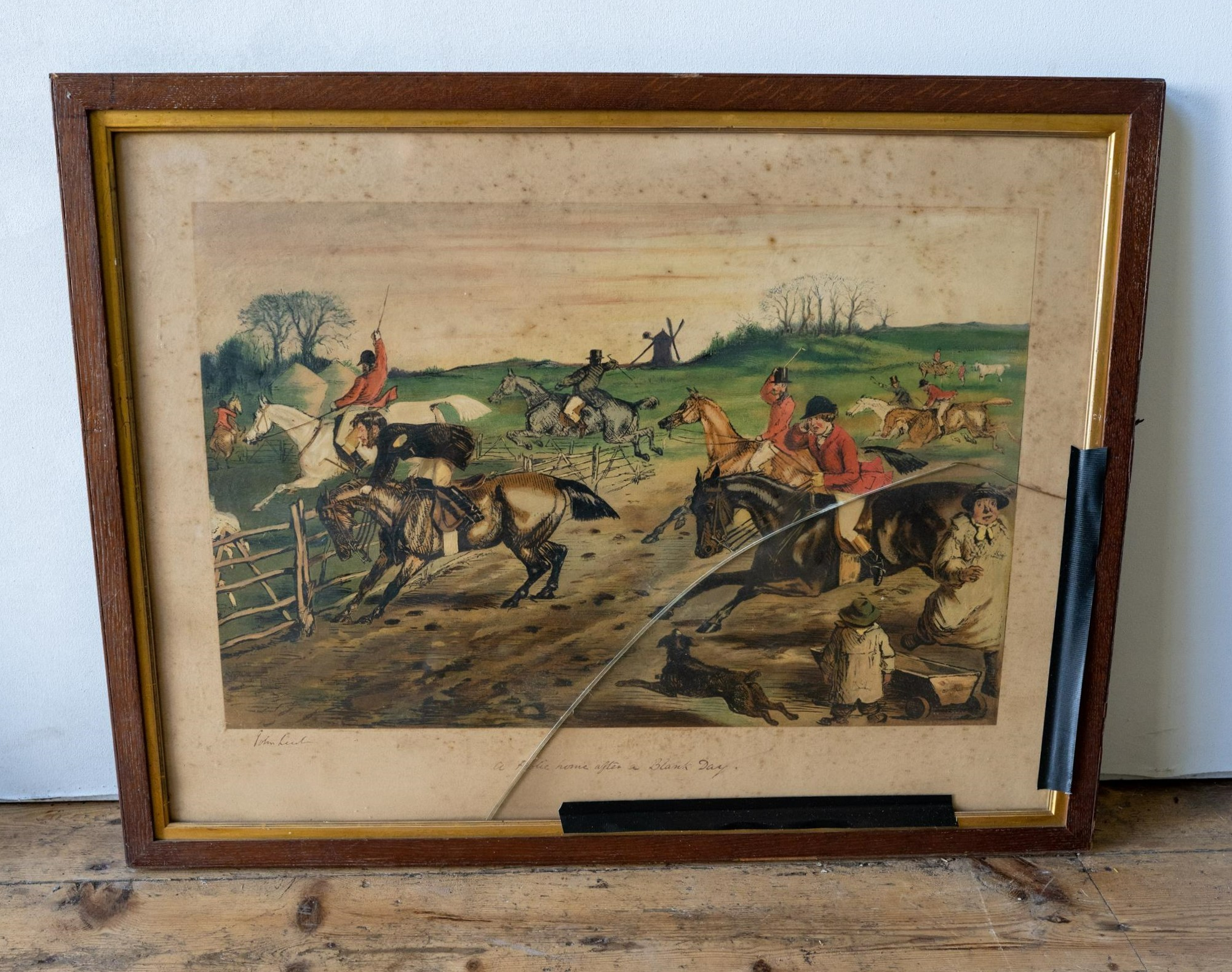 AN OAK FRAMED VICTORIAN PRINT 'A FOXHUNTER'S DREAM' AND FIVE OTHER COUNTRY PURSUITS PRINTS PRINTS, - Image 4 of 4