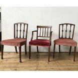 THREE GEORGE III MAHOGANY CHAIRS CIRCA 1800 including one armchair