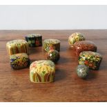 EIGHT PAINTED PAPIER MACHE TRINKET BOXES AND TWO EGG ORNAMENTS