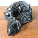 ZIMBABWEAN CARVED SERPENTINE FIGURE OF WARTHOG AND BABY, 34 cm long