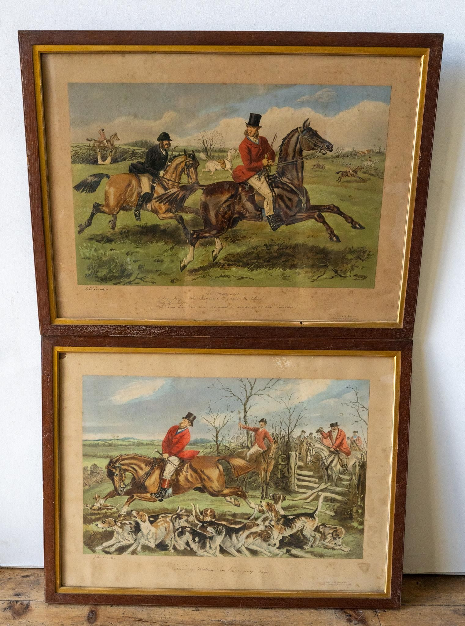 AN OAK FRAMED VICTORIAN PRINT 'A FOXHUNTER'S DREAM' AND FIVE OTHER COUNTRY PURSUITS PRINTS PRINTS, - Image 2 of 4