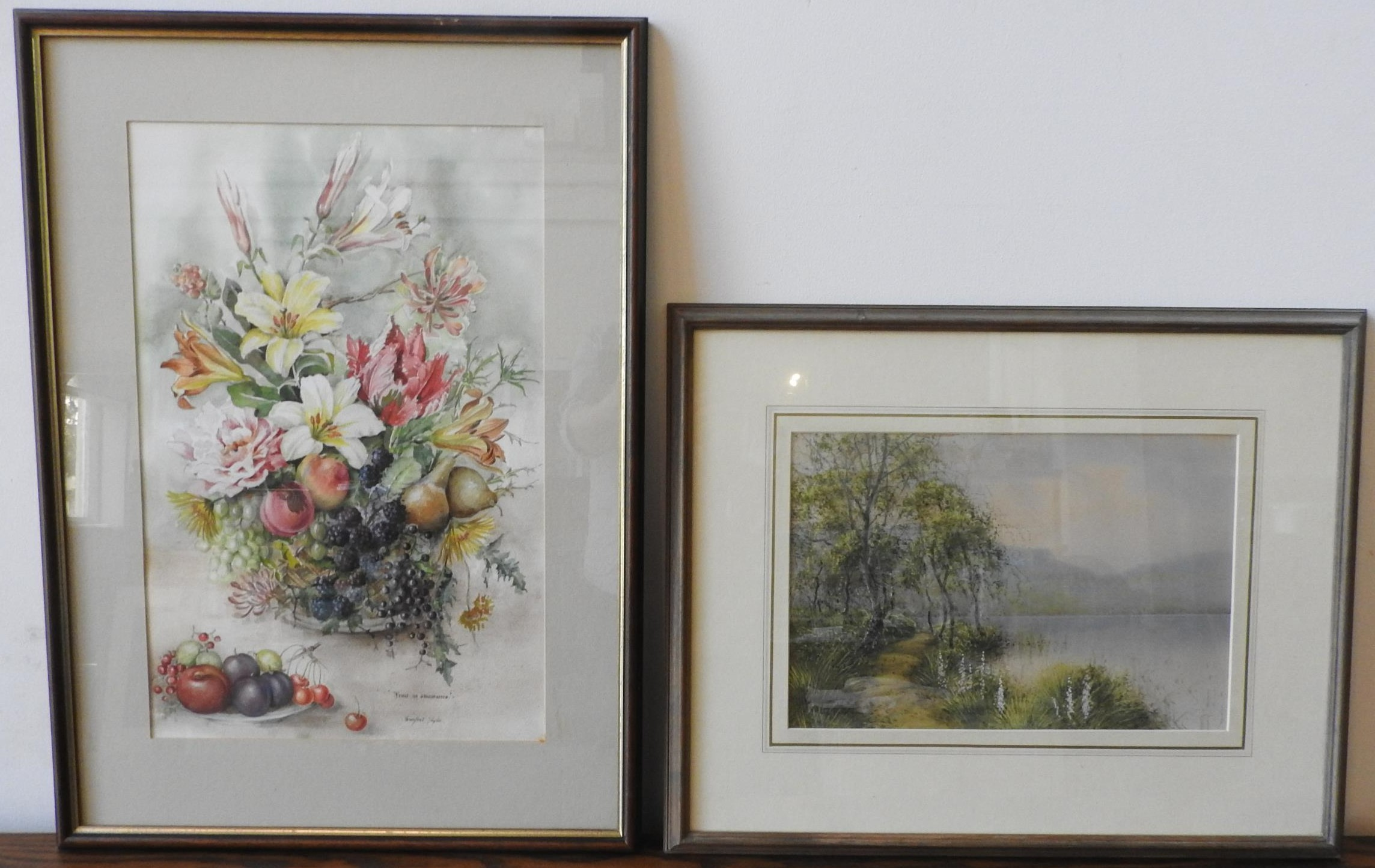 WATERCOLOUR ON PAPER 'FRUIT IN ABUNDANCE', WINIFRED TAYLOR AND LAKE SCENE WATER COLOUR, the Winifred