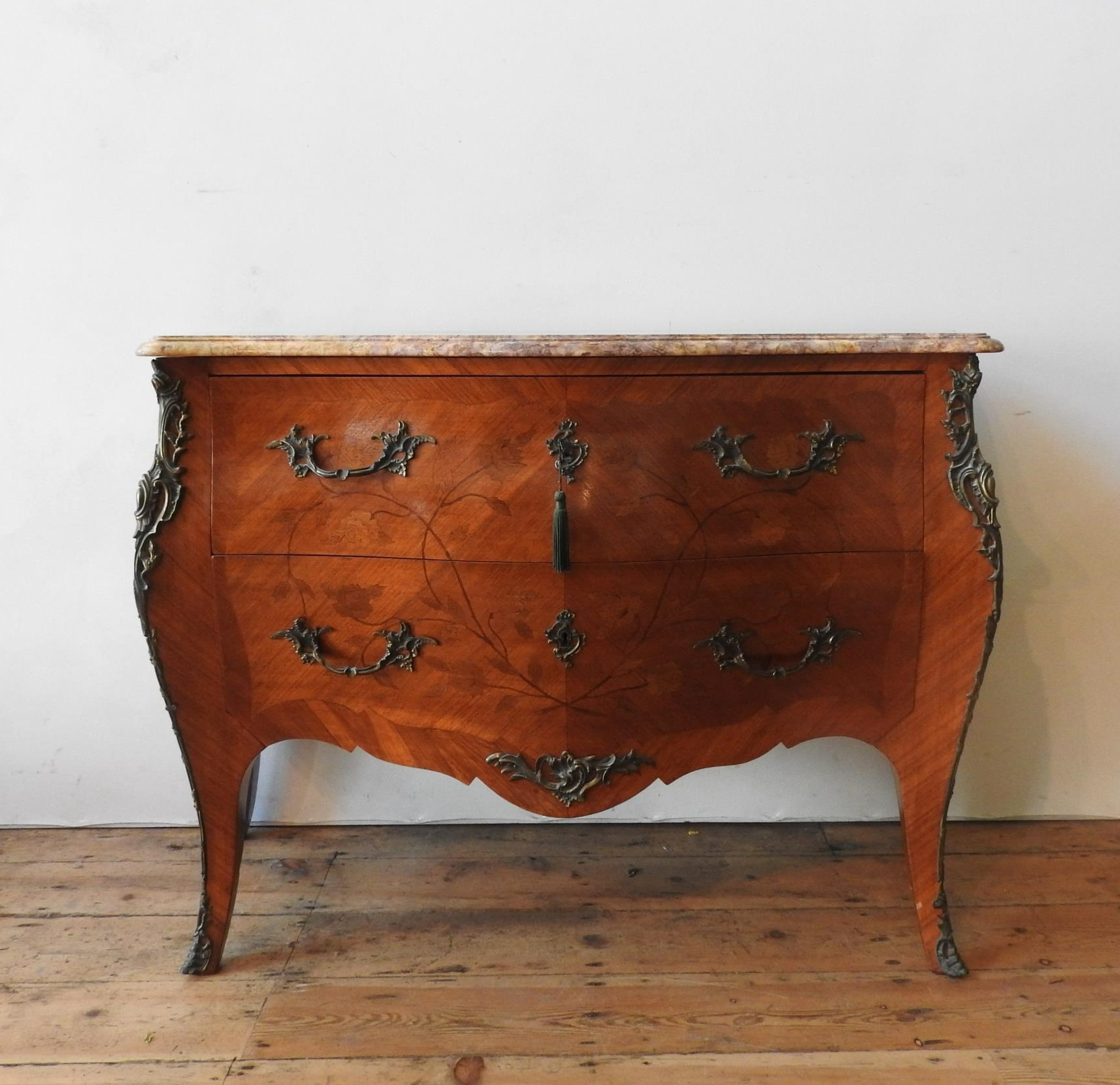 A 20th CENTURY LOUIS XV STYLE CONTINENTAL MARBLE TOP BOMBE CHEST, the two drawer chest with floral - Image 2 of 4