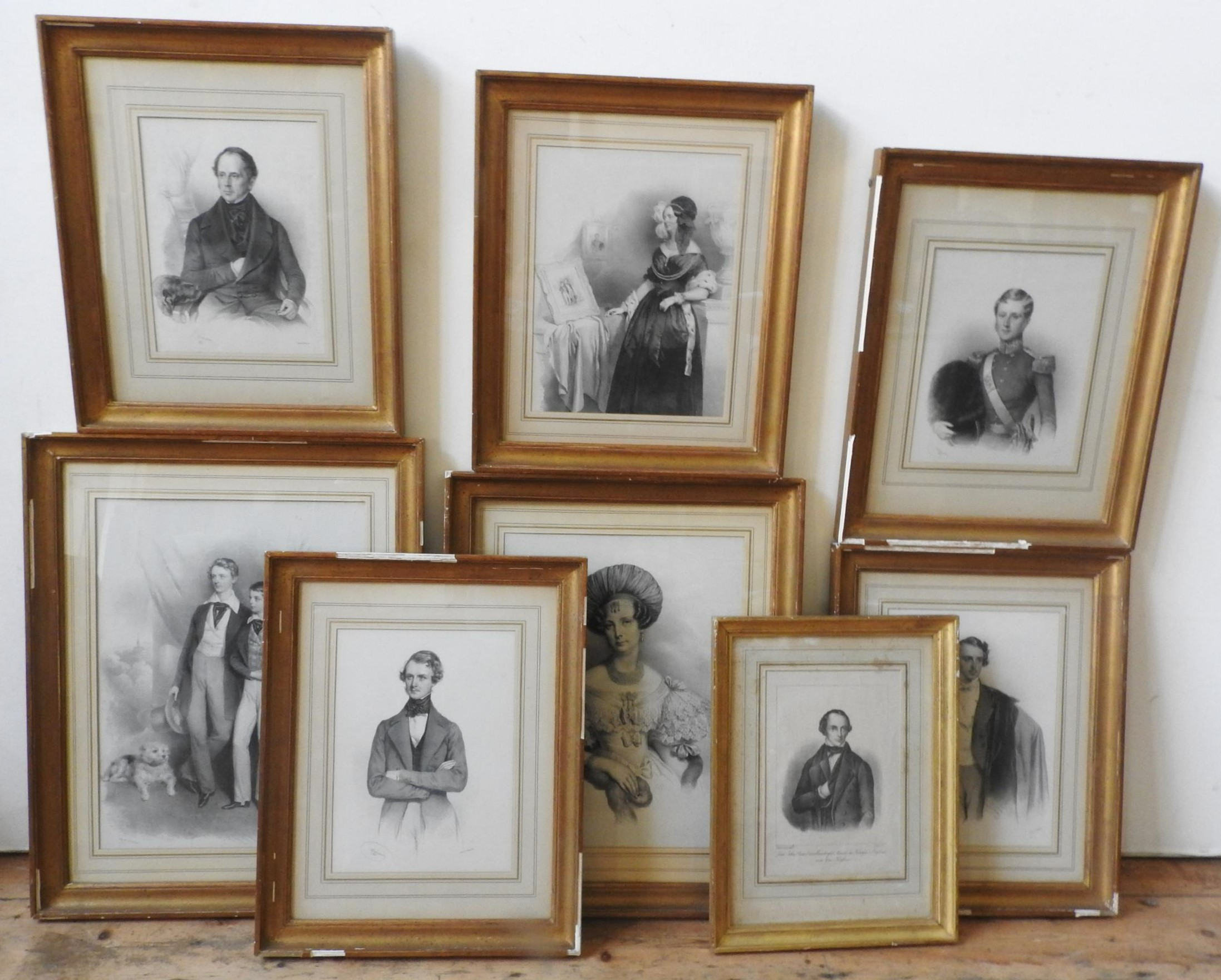 A SET OF EIGHT MONOCHROME LITHOGRAPH PLATES OF LORD JOHN RUSSEL AND FAMILY , 47 x 36 cm and smaller