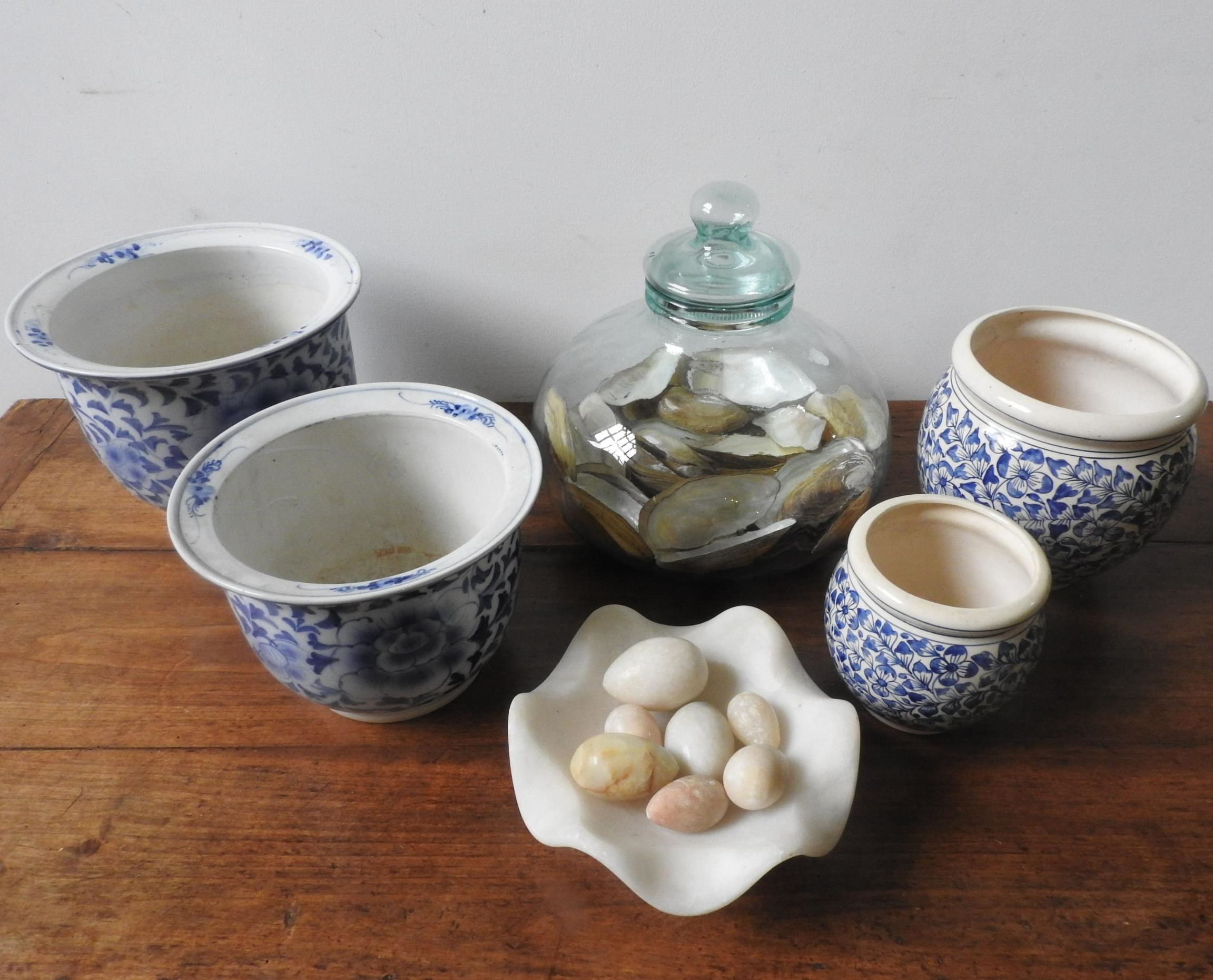 FOUR BLUE AND WHITE GLAZED JARDINIERES, ALABASTER BOWL AND EGG ORNAMENTS AND A LARGE GLASS JAR - Image 2 of 2
