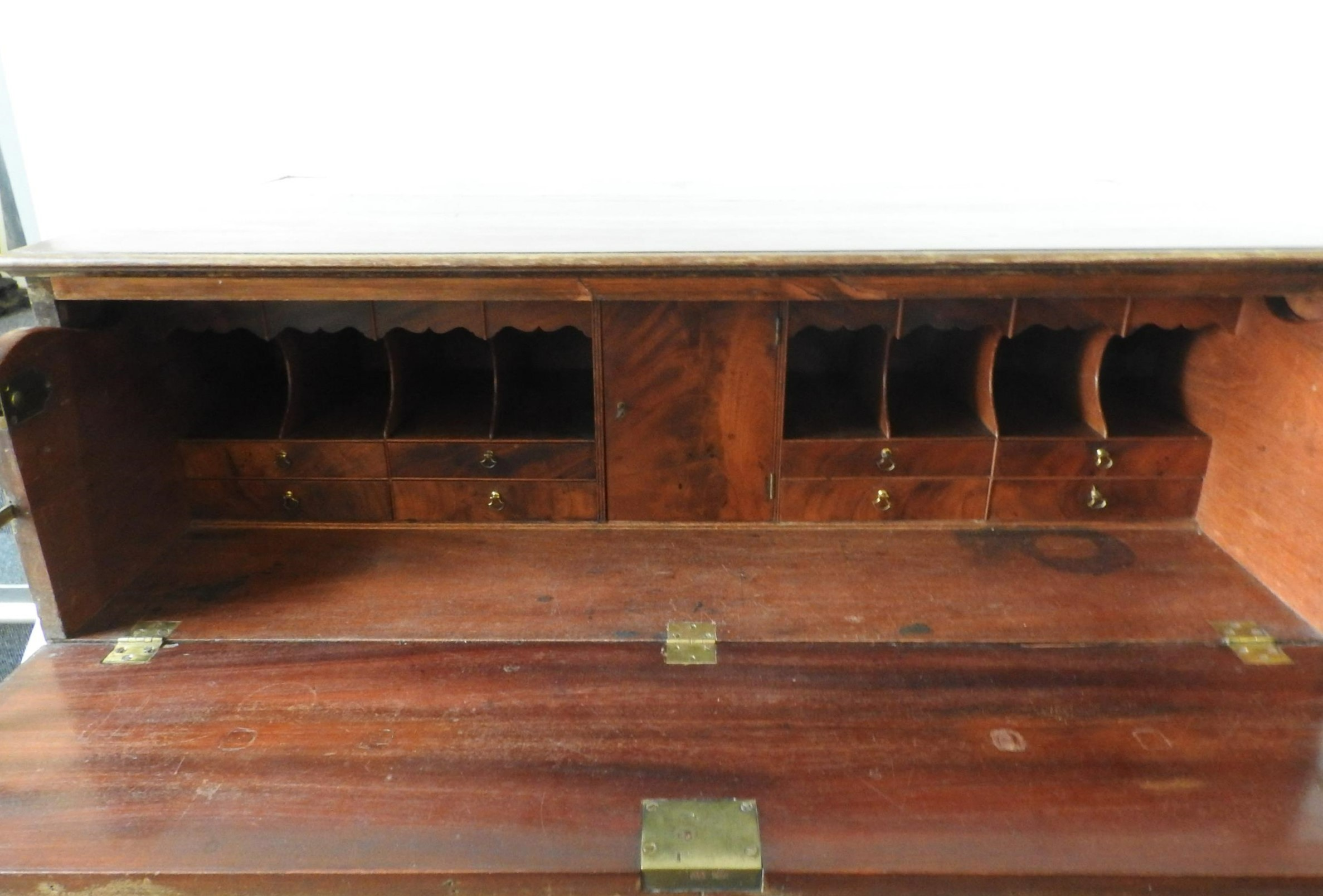 A 19th CENTURY MAHOGANY SECRETAIRE CHEST ON BRACKET FEET, the drop-front top drawer fitted with - Image 2 of 4