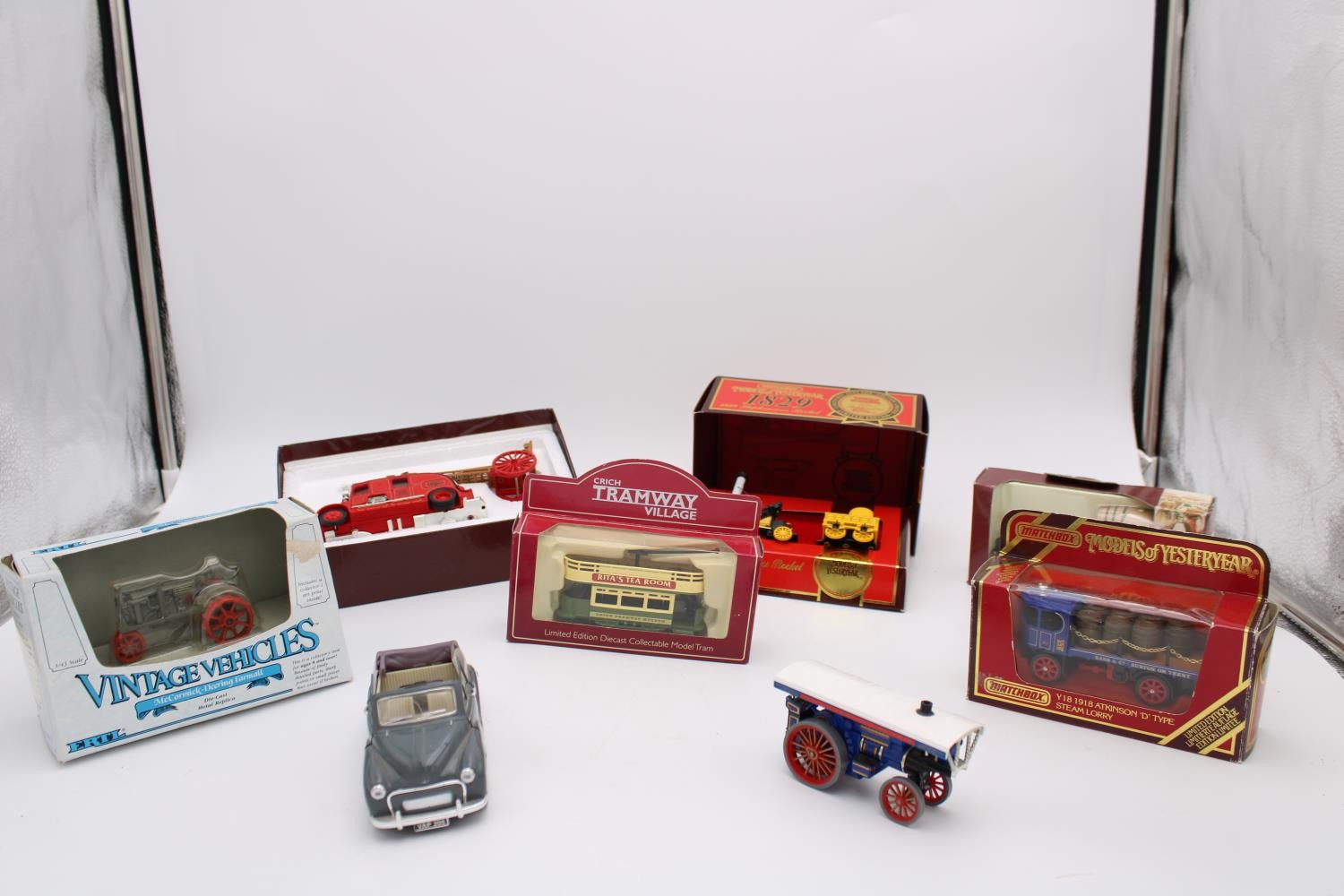 EIGHT COLLECTOR'S MODEL VEHICLES, INCLUDING 1936 LEYLAND CUB FIRE ENGINE BY MATCHBOX MODELS OF