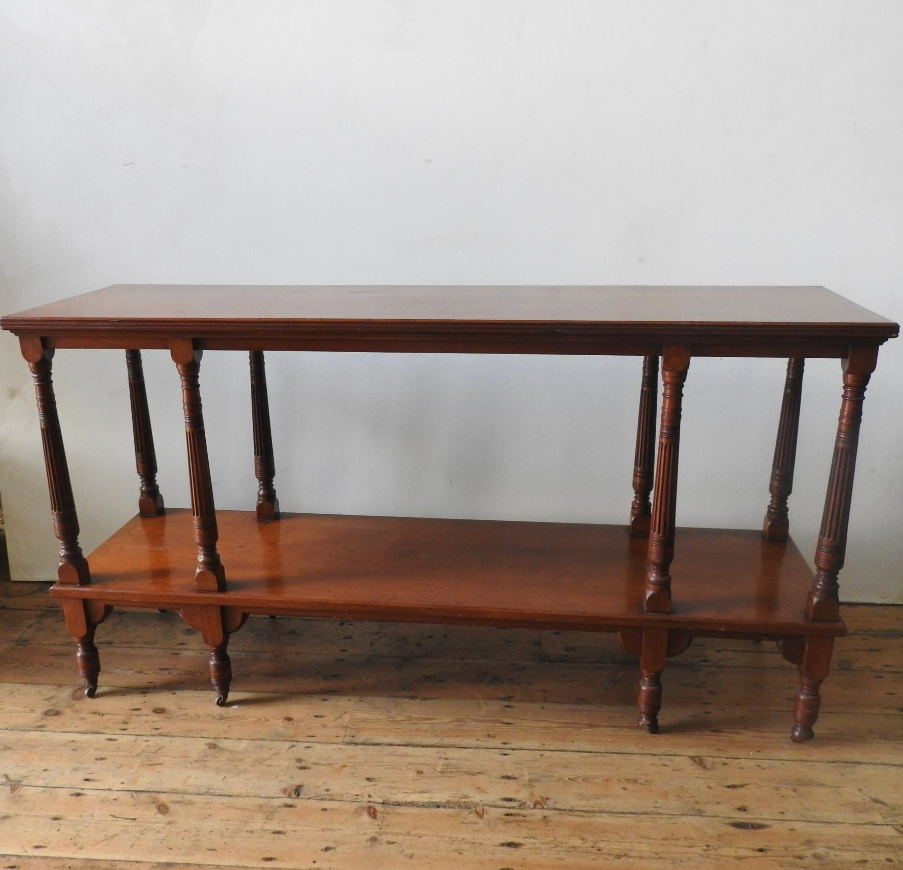 A LATE VICTORIAN MAHOGANY 2-TIER BUFFET, on eight turned legs with eight fluted tapered supporting - Image 2 of 3