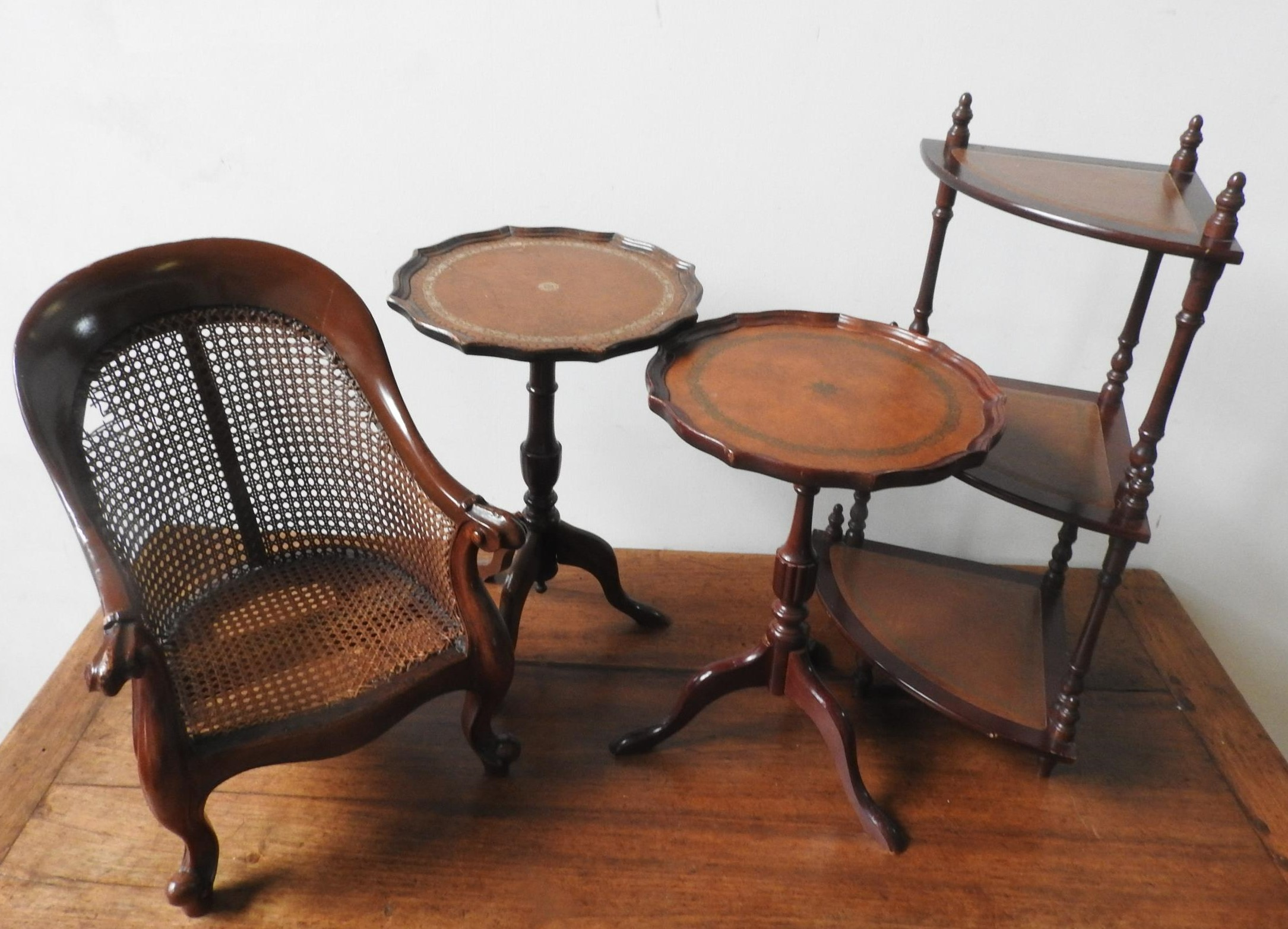 A CHILD'S MAHOGANY FRAMED CANE ARMCHAIR, TWO 20TH CENTURY WINE TABLES AND 3-TIER CORNER WHAT NOT, - Image 2 of 2