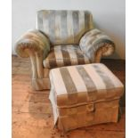 A DURESTA STRIPED BUTTON UPHOLSTERED ARMCHAIR AND MATCHING FOOT STOOL, the chair measures 100 x