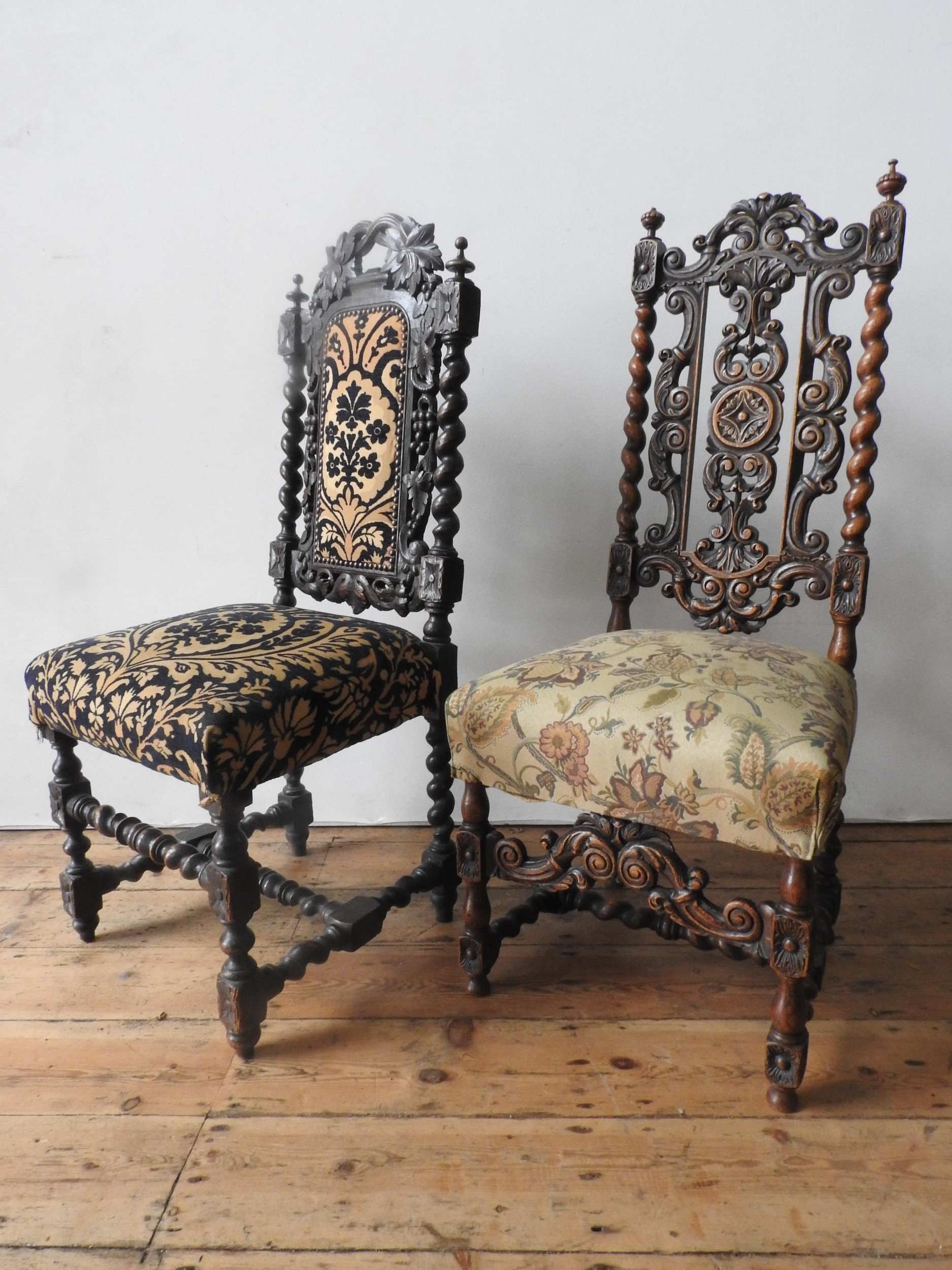 TWO ORNATE CARVED OAK 19TH CENTURY HALL CHAIRS, both with barley twist and foliate carved frames - Image 2 of 2