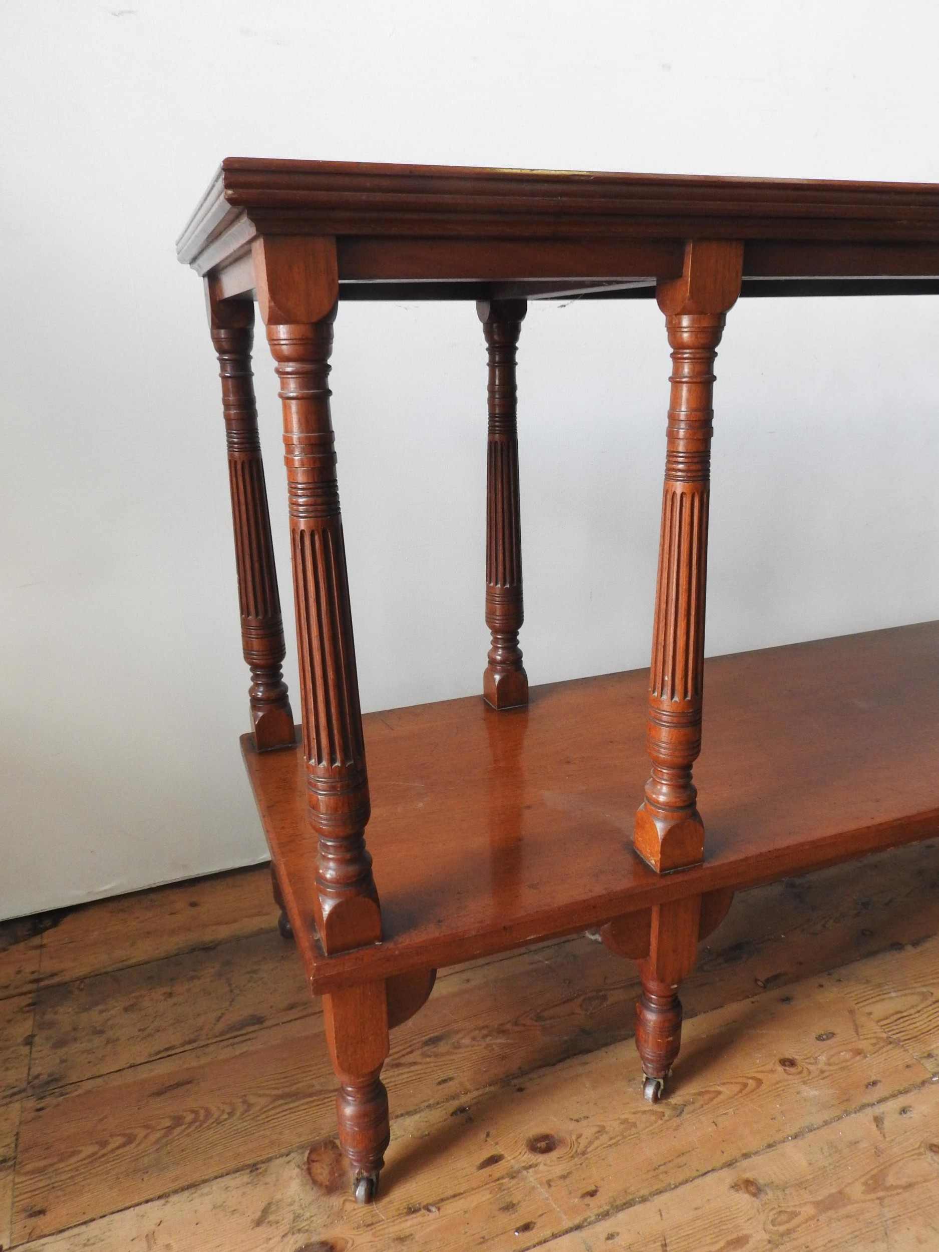 A LATE VICTORIAN MAHOGANY 2-TIER BUFFET, on eight turned legs with eight fluted tapered supporting - Image 3 of 3