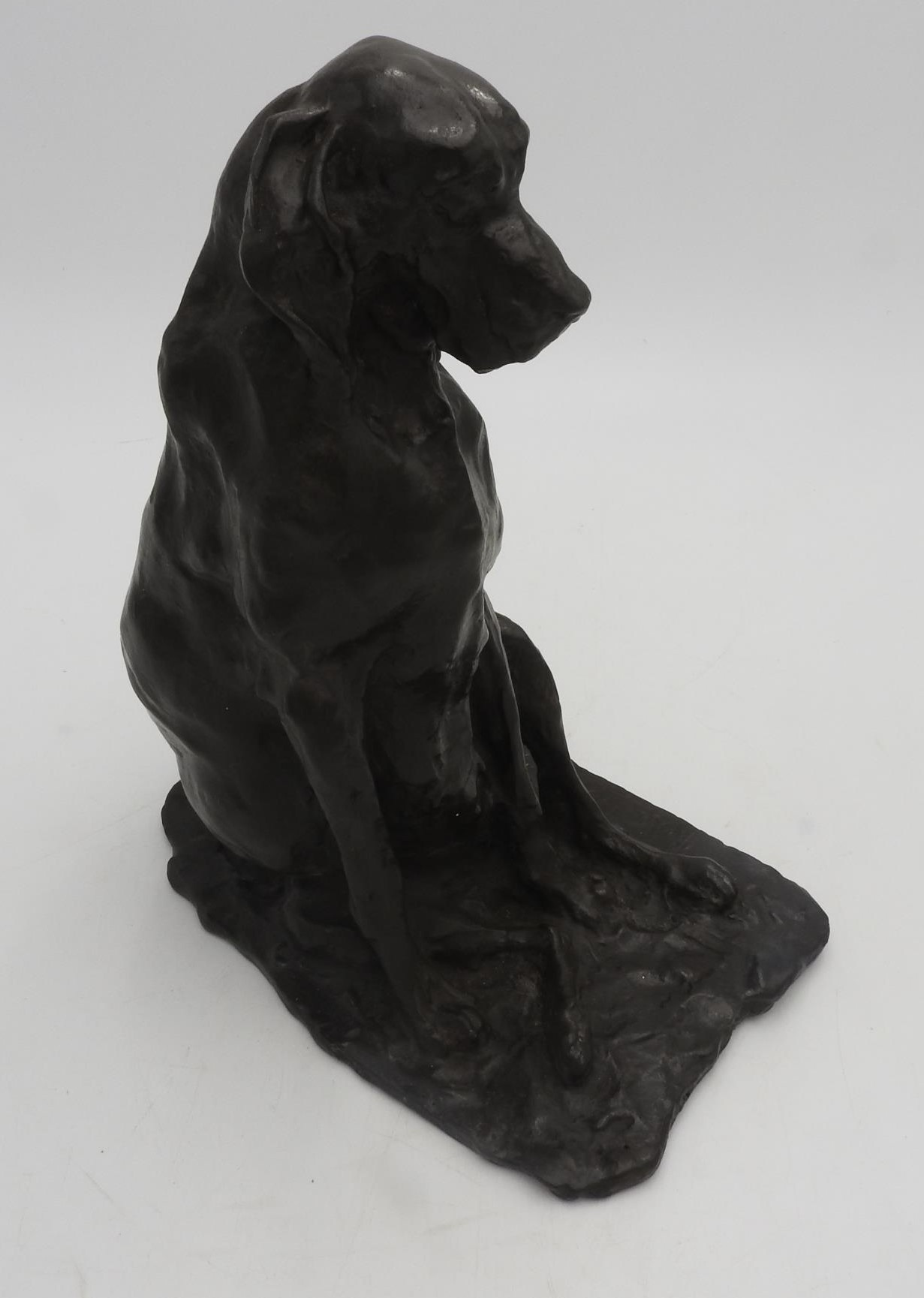 A BRONZE FIGURE OF SEATED DOG SIGNED AND DATED PAOLO TROUBETZKOY 1893, dark brown patina, 25 cm high - Image 4 of 5