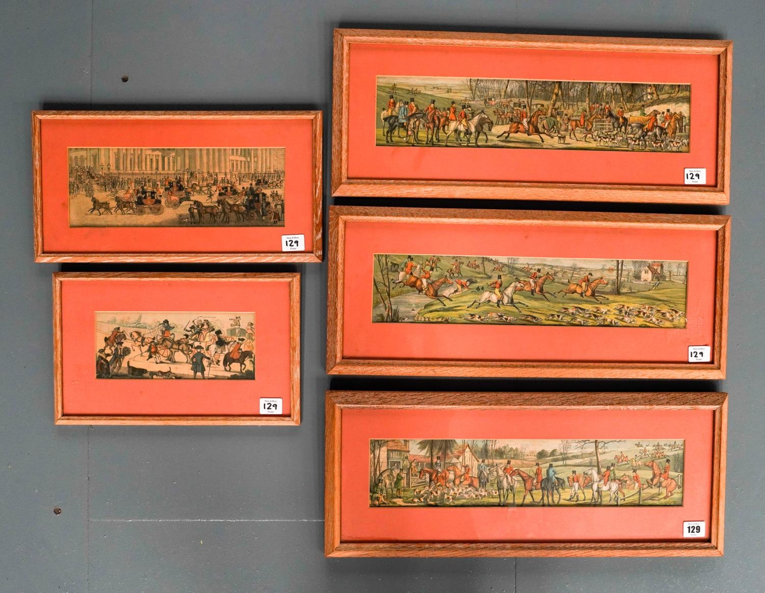 3 COLOUR LITHOGRAPHS OF HUNTING SCENES AND 2 COACHING SCENE LITHOGRAPHS, ALL IN LIMED OAK FRAMES 9cm - Image 2 of 2